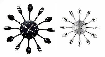 Wall Mountable Kitchen Cutlery Clock Retro Decoration Living Dinning Forks Spoon