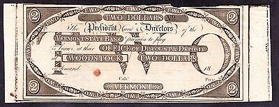 US $2 Vermont State Bank Obsolete Currency VF-XF