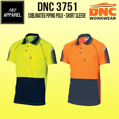 Mens Hivis Cool-Breathe Sublimated Piping Tradie Top Polo Short Sleeve 3751 Dnc