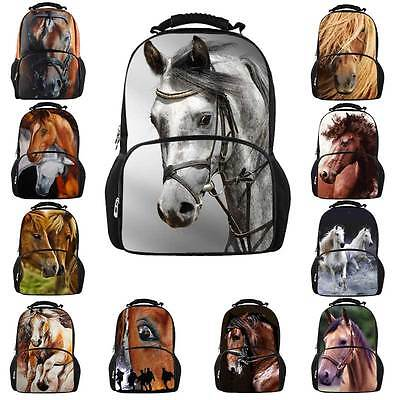 Women Mens Laptop Backpack Travel Rucksack 3D Horse College School Shoulder Bag