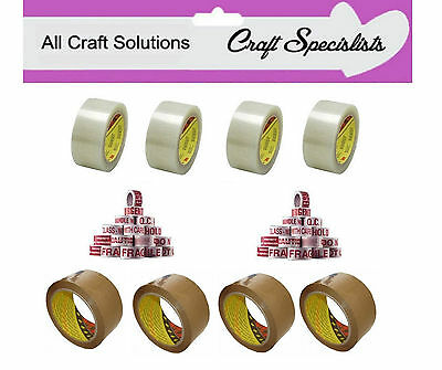 3M SCOTCH PACKING PARCEL TAPE - BROWN CLEAR 66m LONG x 48mm WIDE