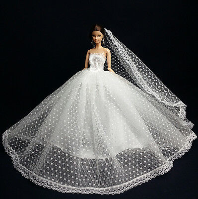 White Fashion Royalty Princess Dress/Clothes/Gown+Veil For 11.5in.Doll S179A