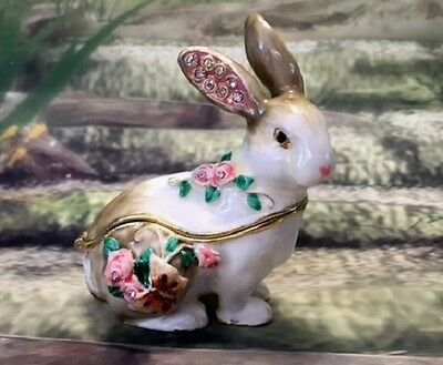 Rabbit Enamelled Treasures Trinket Box with Necklace