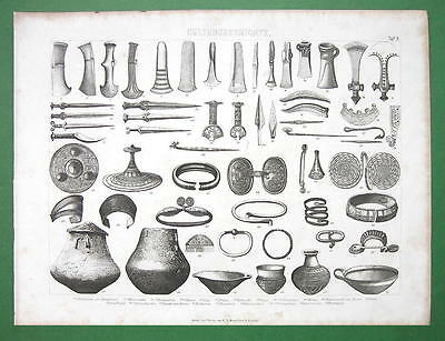 BRONZE AGE Artifacts Tools Arms Jewelry Vessels - Antique Print