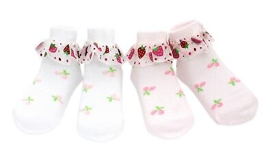 2 pairs Baby Flower Girls Strawberry Lace Summer Frilly Ankle Socks Age 1 2 3