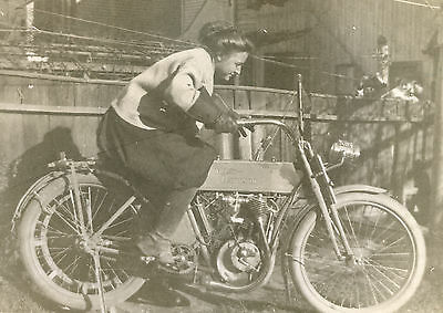 Antique Harley Davidson Pretty Lady  Rider Fine Detail Gas Tank Graphics Photo