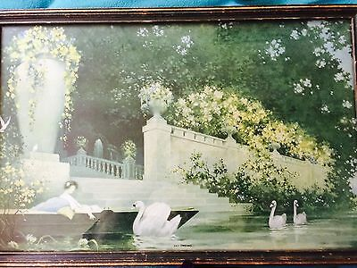 """Stern & Hacker of Chicago Illinois Antique 1920's Framed Print """"Day Dream"""" Swans"""