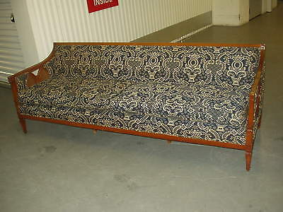 Mid-Century Long Carved & Caned Couch / Sofa