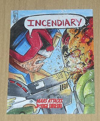 2015 Topps Mars Attacks Occupation Kickstart Judge Dredd sketch Tressina Bowling
