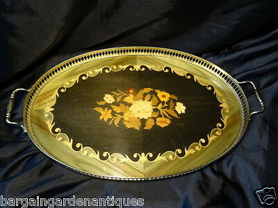 Vintage French Empire Style Marquetry Oval Brass Gallery Drinks Tray