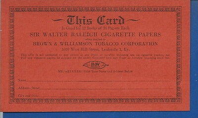 AO-069 - Sir Walter Raleigh Cigarette Papers Redemption Card 1930's to 50's
