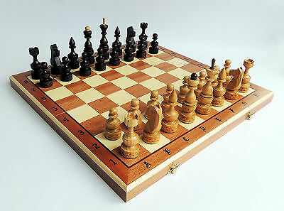 LUXURY ''EXPERT'' WOODEN CHESS SET 49 x 49cm!  INLAID BOARD AND CHERRY PIECES!!!