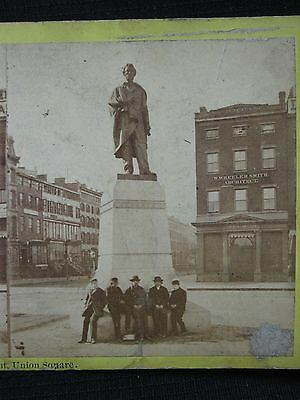Antique Lincoln Monument Union Square Manhattan Ny Trade Signs Stereoview Photo