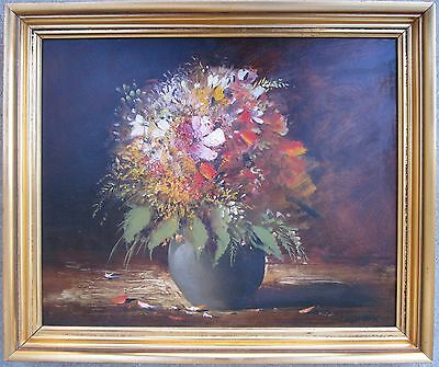Vintage Uzbekistan Impressionist Oil On Board Floral Painting Interior Decorate