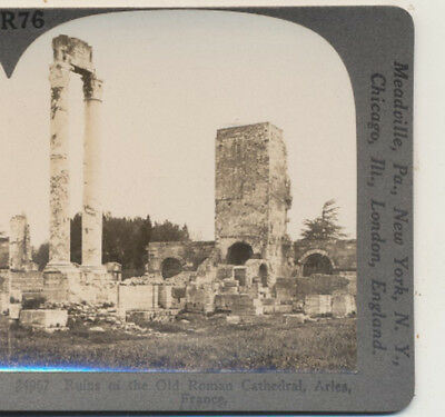 Ruins of Old Roman Cathedral Arles France Keystone Stereoview c1900