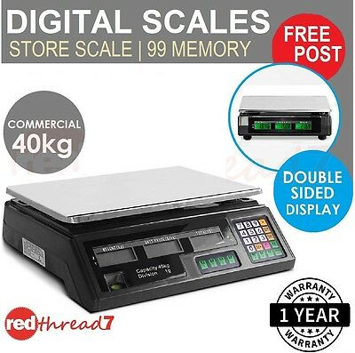 Digital Electronic Scales Weight Kitchen LCD Food Scale Postal 40kg Market Black