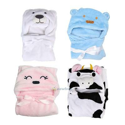 Baby Kids Infant Boy Girl Cartoon Animal Hooded Bath Towel Bathrobe Bathing Wrap