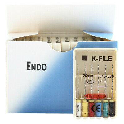 10 Packs Dental Endo K-FILE 25mm 045-080 Endodontic Root Canal Hand Use K-files