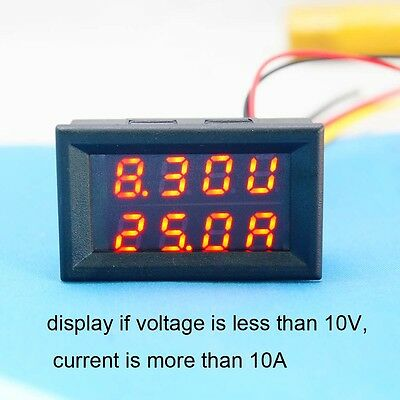 100V 100A DC Dual Digital Car Voltmeter Ammeter LED Amp Volt Meter Gauge + Panel