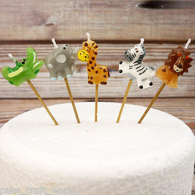 Jungle Animal Candles On Picks (5 pieces)