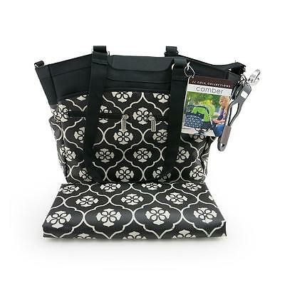 JJ Cole J00464 Camber Baby Changing Bag 10 Pocket Easy Clean Black Forest New