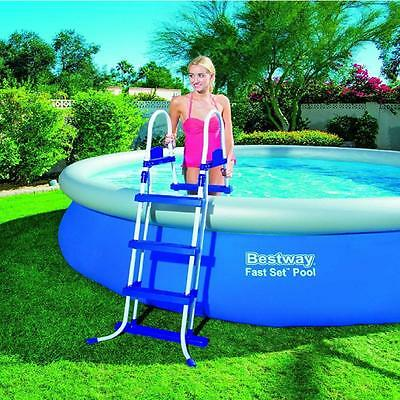 "New Bestway 42"" Steel Frame Swimming Pool Safety Ladder Stairs Steps Accessories"