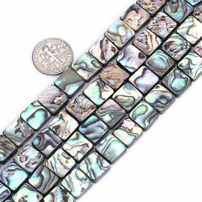 """Natural Flat Square Abalone Shell Beads Loose Gemstones for Jewelry Making 15"""""""