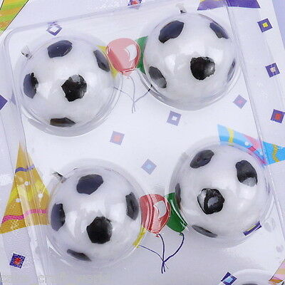 Black & White 3D Football Candles, Pack of 6