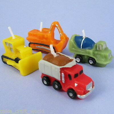Set Of 4 Construction Vehicles Candles