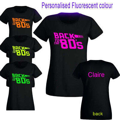Back To The 80s Ladies T-Shirt PRINT I Love 2 Party Fancy Dress NEON FLUORSECENT