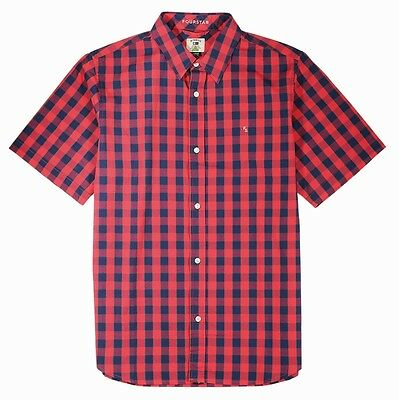 Fourstar Shane O'Neill Men's short-sleeved Washed Red checked Shirt - Large