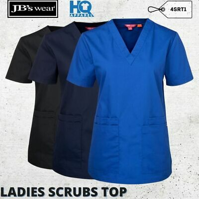 Medical Scrub Suit Ladies Top Women Nurse Doctor Hospital Uniform Wear Size 6-24