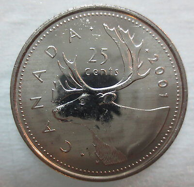 2001 Canada 25¢ No P Brilliant Uncirculated Quarter Coin