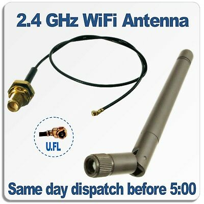 2.4GHz WiFi Antenna with SMA to UFL pigtail lead. Suitable for ESP8266 Modules