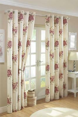 ASTON ROSE PINK CREAM 66 x 72 EYELET READY MADE LINED CURTAINS HEAVY QUALITY