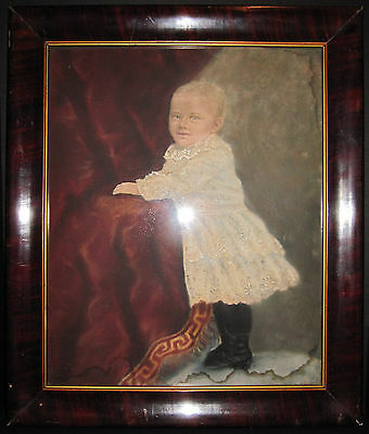 Antique American Folk Art Style Victorian Baby Boy Painting Interior Decorate