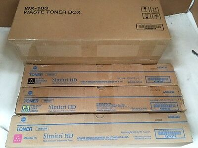 NEW Genuine Konica Minolta Toners  TN512M TN512Y TN512K & WASTE TONER Box