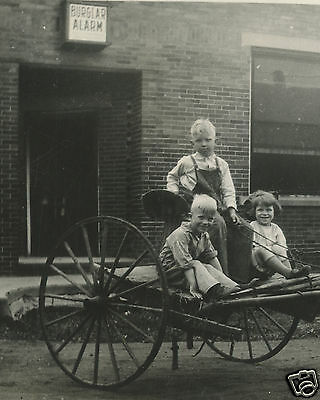 Antique Vintage Burglar Alarm Horse Carriage Cute Kids Twins ? Blonde Old Photo