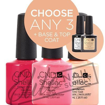 CND SHELLAC UV Color Coat 7.3ml - Any 3 Colours + Base + Top + FREE CND SolarOil