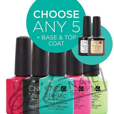 CND SHELLAC UV Color Coat 7.3ml - Any 5 Colours + Base + Top + FREE CND SolarOil