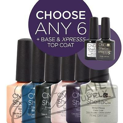 CND SHELLAC - 7.3ml - Any 6 Colours + Base + XPRESS5 Top + FREE CND SolarOil