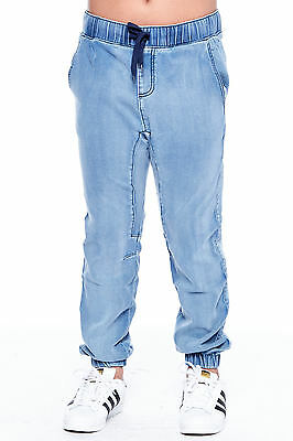 Boys Kids Stretch Pull On Basic Twill Solid Drawstring Jogger Pants BBP006
