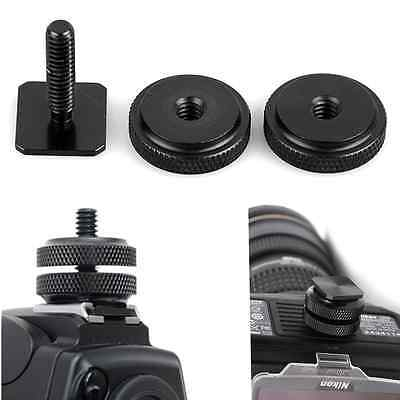 "High Quality 1/4""Dual Nuts Tripod Mount Screw Adapter to Flash Camera Hot Shoe Q"