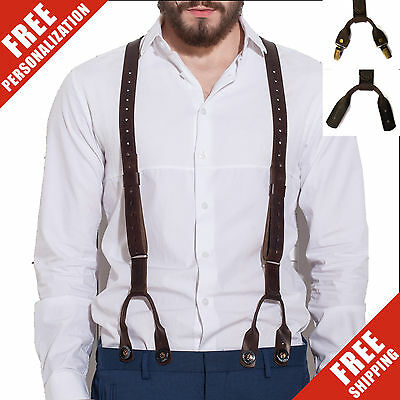 Mens Leather Suspenders Y-Back Vintage Adjustable Braces Brown Wedding Man New