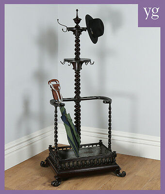 Antique Victorian Colonial Anglo Indian Mahogany Coat Stick Hallstand / Hatstand