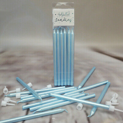 Blue Pearl Candles With Holders, Pack of 12
