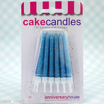 Blue Glitter Candles & Holders, Pack of 12