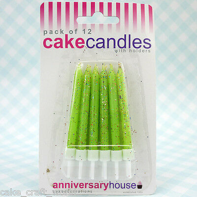 Green Glitter Candles & Holders, Pack of 12
