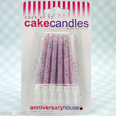 Lilac Glitter Candles & Holders, Pack of 12