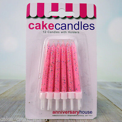Pink Glitter Candles & Holders, Pack of 12